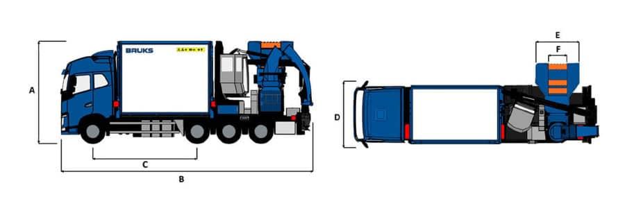 Astilladora móvil Bruks 806.2 PTC Truck planos